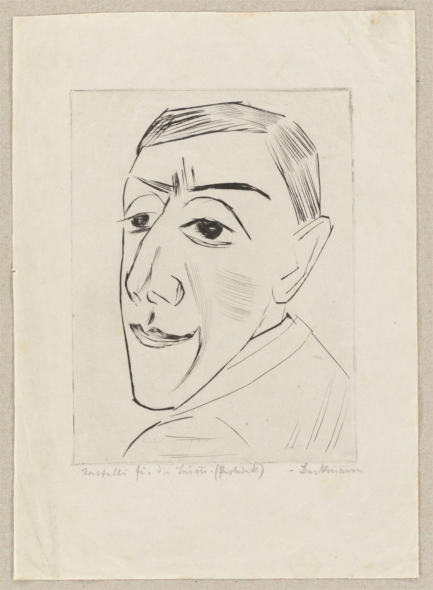 """Max Beckmann. """"Bildnis des Schauspielers N.M. Zeretelli"""". 1924 - Image 2 of 4"""