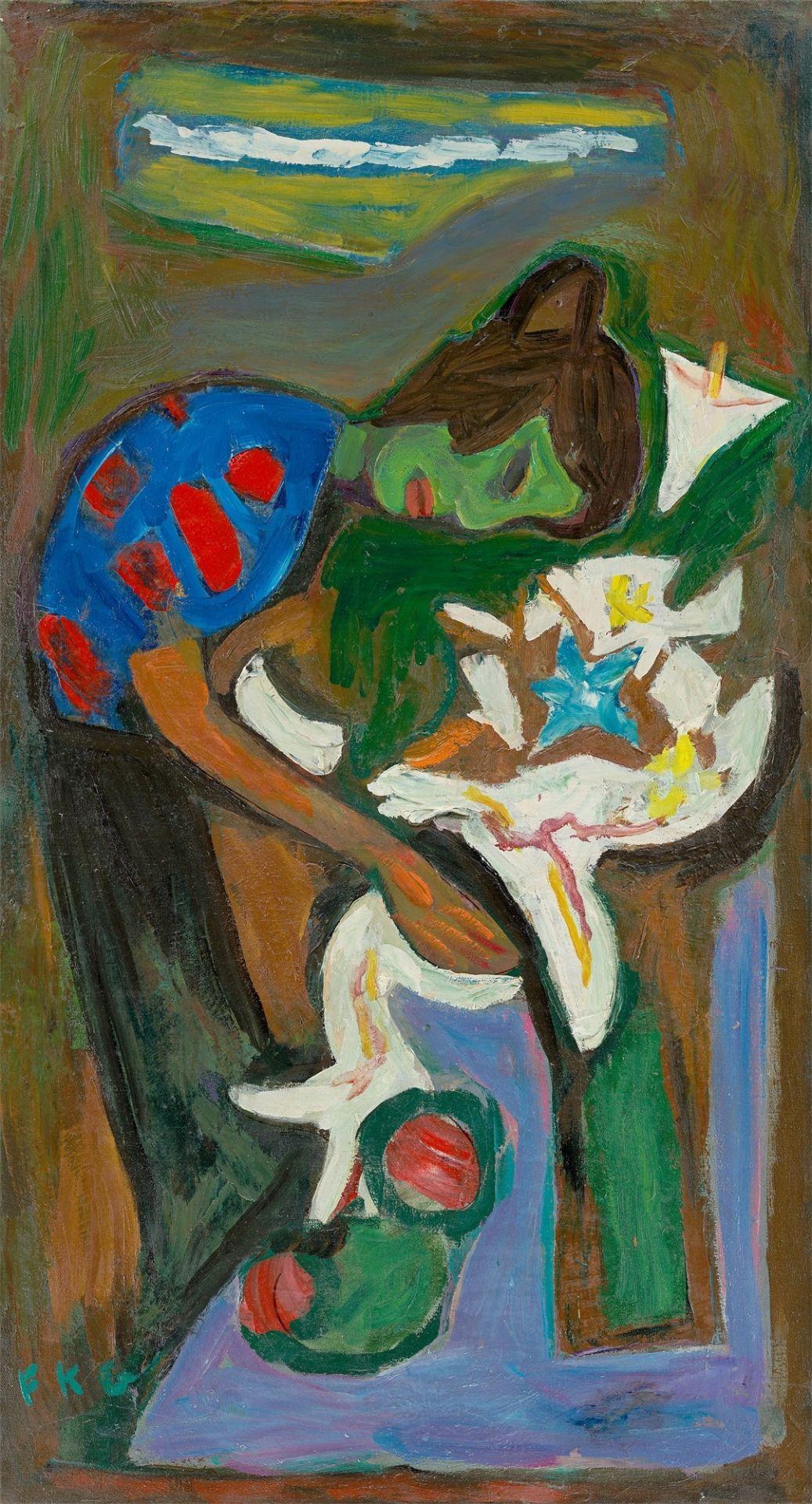 """Friedrich Karl Gotsch. """"Über Blumen geneigt"""". 1952"""