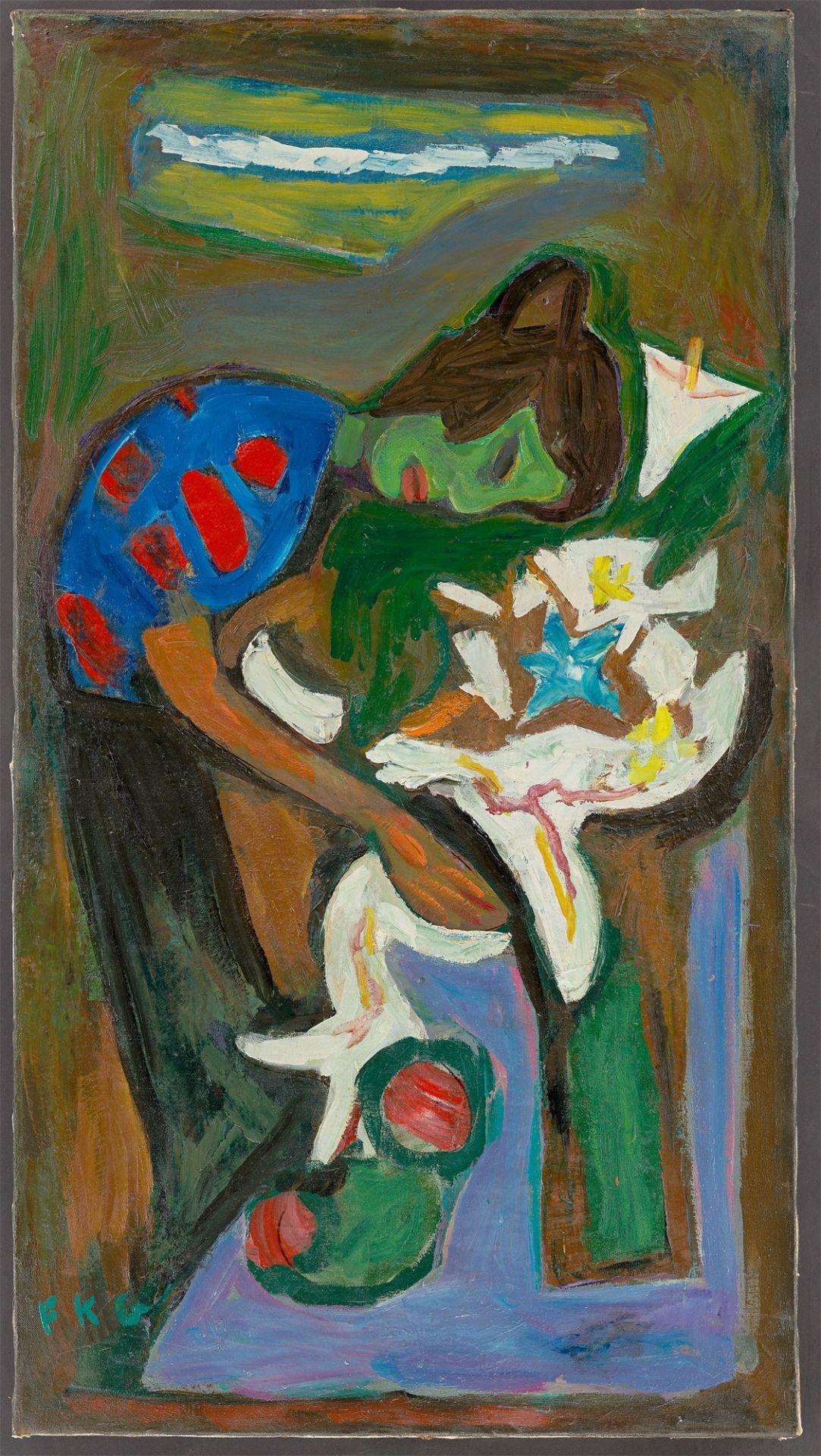 """Friedrich Karl Gotsch. """"Über Blumen geneigt"""". 1952 - Image 2 of 4"""