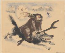 """Josef Hegenbarth. """"Der Winter auf einem Wolf reitend"""". 1945"""