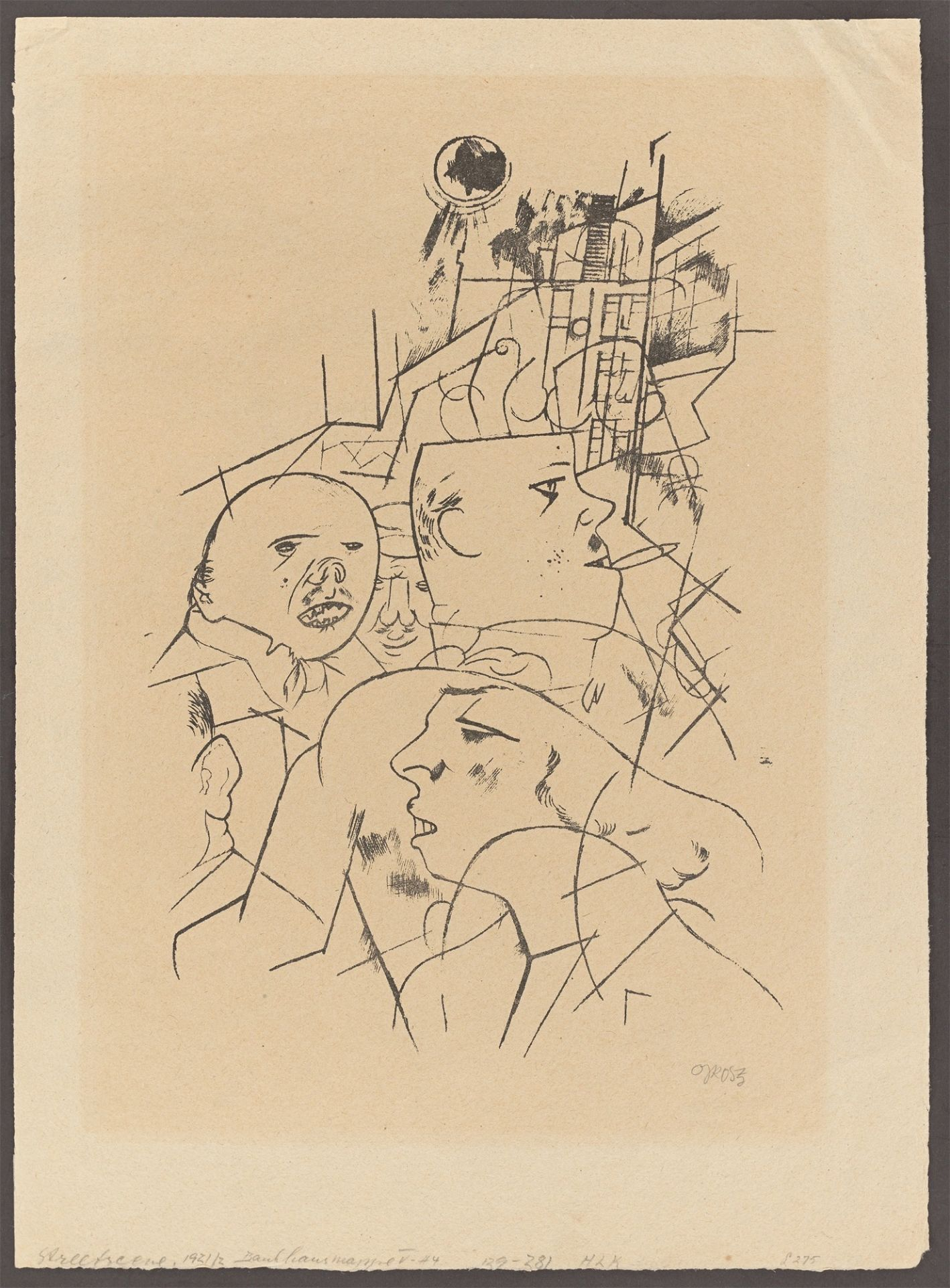 "George Grosz. ""Strassenszene"". 1919/1920 - Image 2 of 3"
