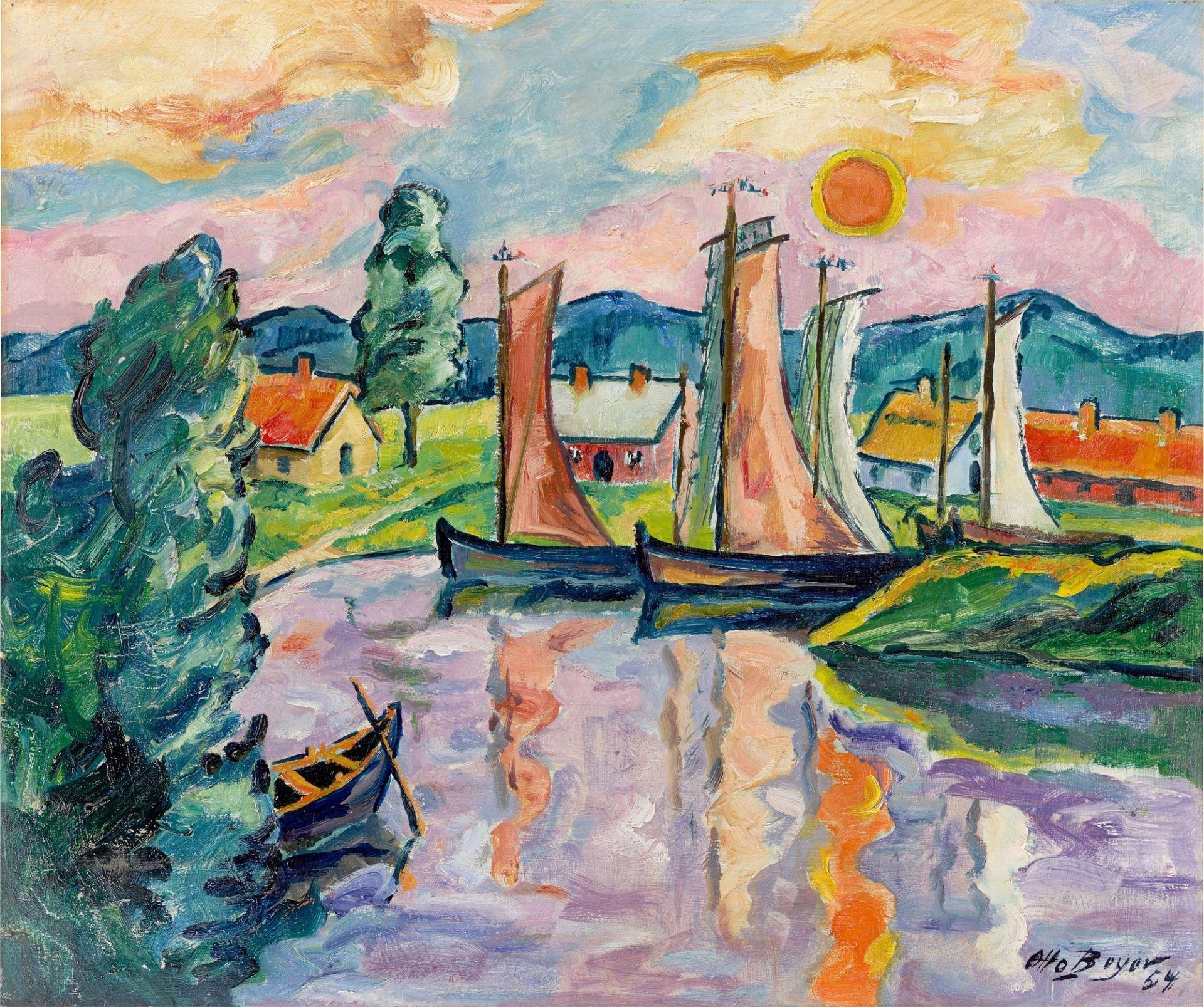 """Otto Beyer. """"Kleiner Fischerhafen im Sonnenuntergang"""". 1954"""