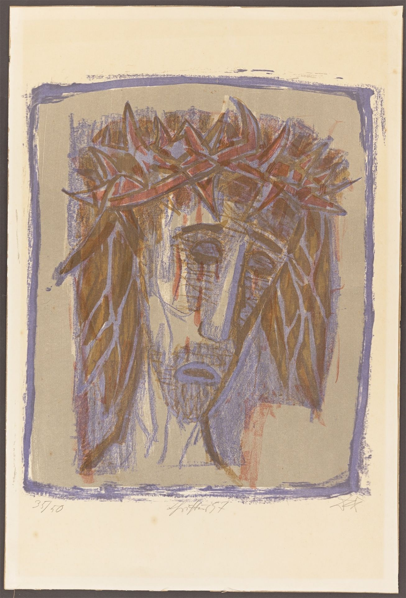 "Otto Dix. ""Christus"". 1957 - Image 2 of 3"