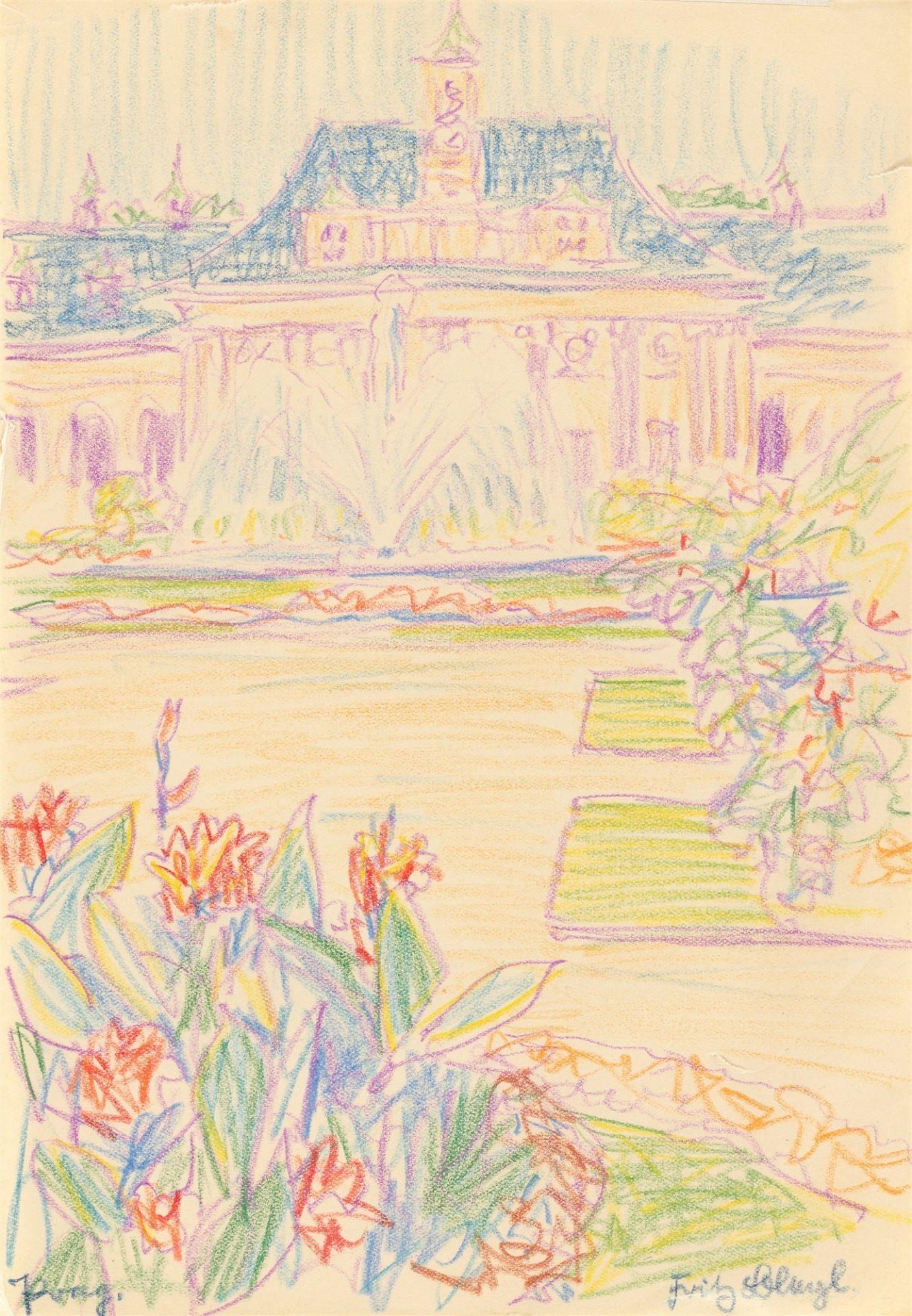 "Fritz Bleyl. ""Prag."" (View of the Hradčany Castle) / ""Prag."" (Palace and park) / ""Prag."" (Wal…. 1930"