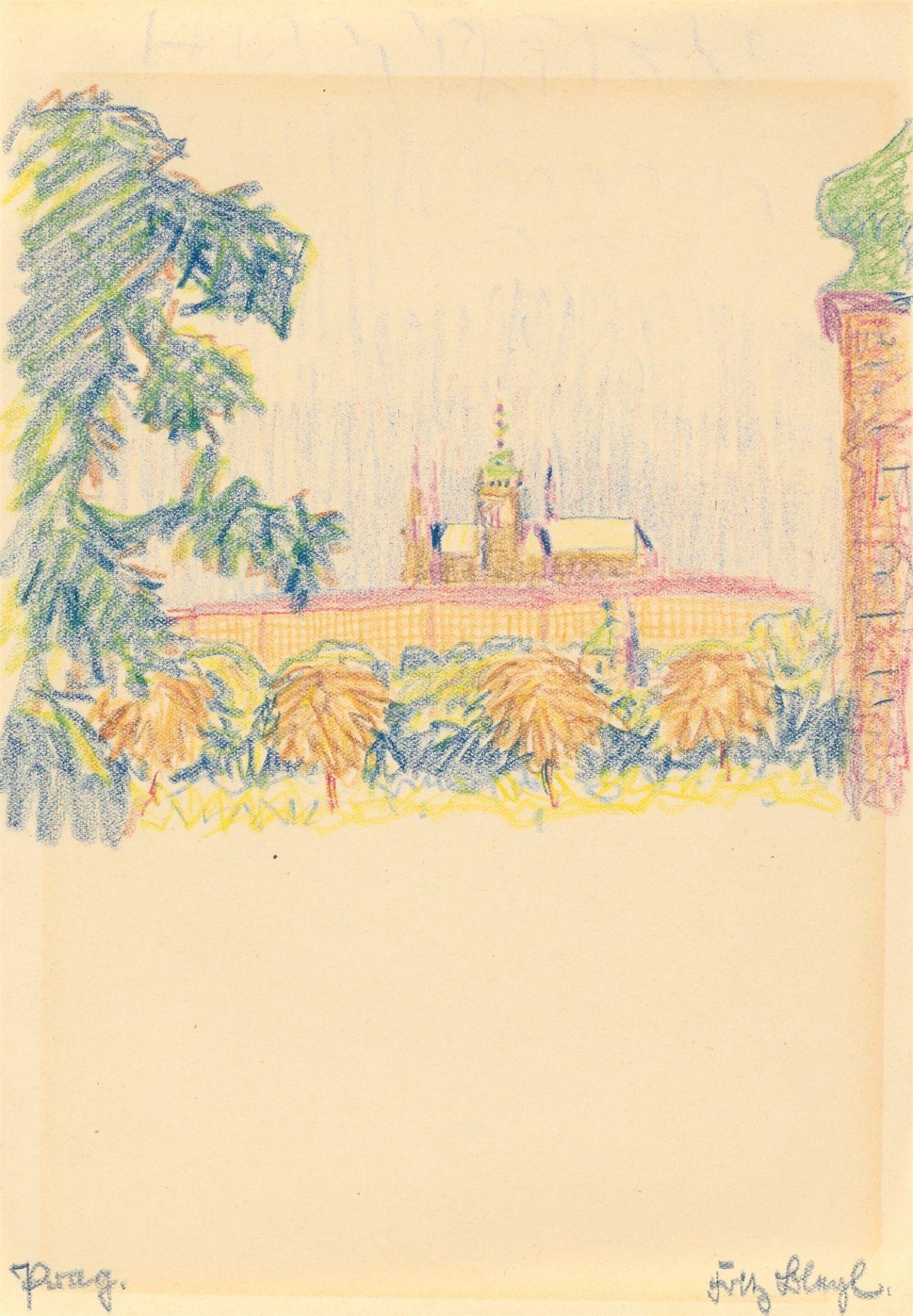 "Fritz Bleyl. ""Prag."" (View of the Hradčany Castle) / ""Prag."" (Palace and park) / ""Prag."" (Wal…. 1930 - Image 4 of 10"