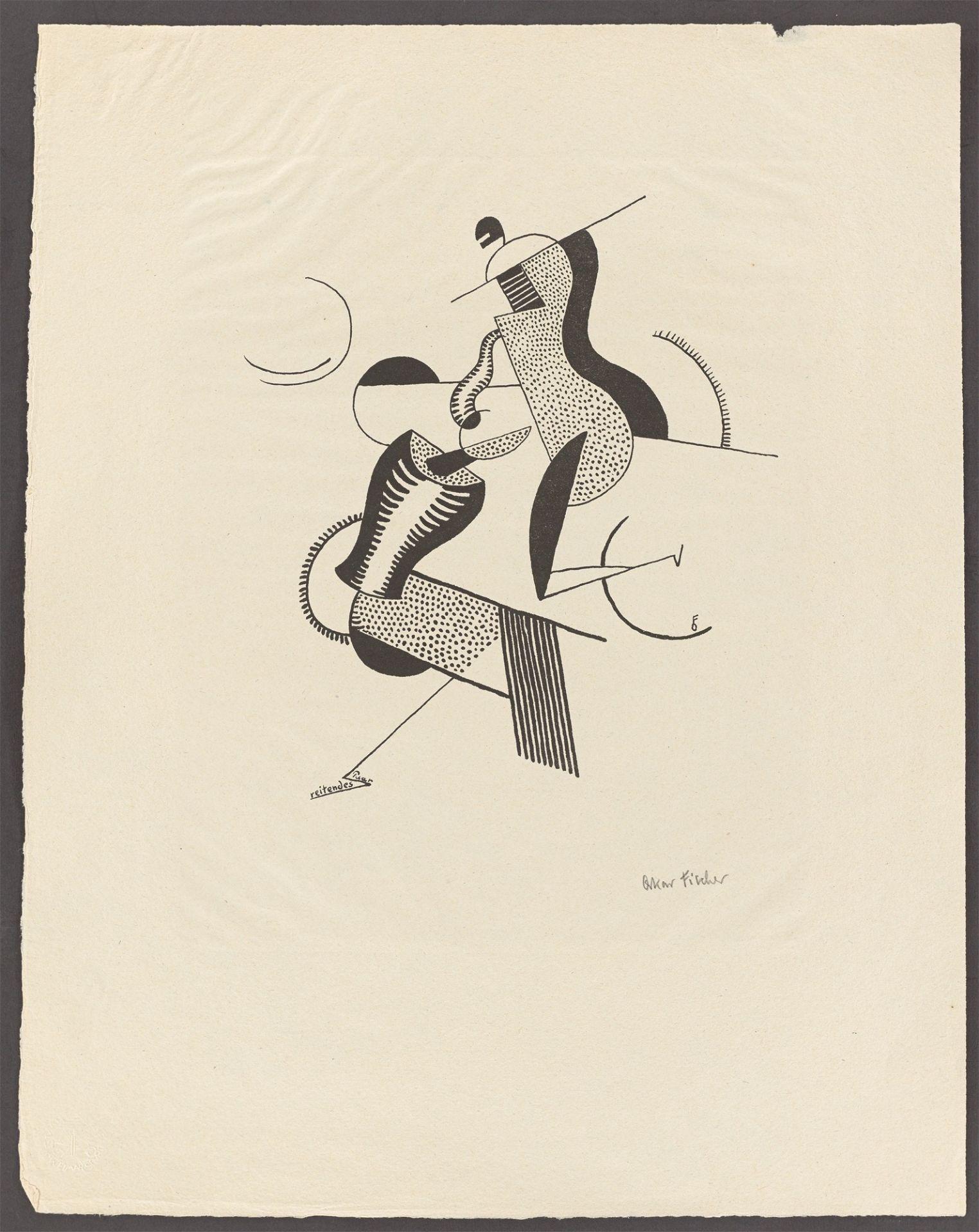 """Oskar Fischer. """"reitendes Paar"""". 1920/21 - Image 2 of 3"""