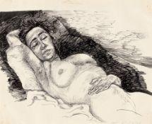 Lea Grundig. Sleeping reclining nude. 1941