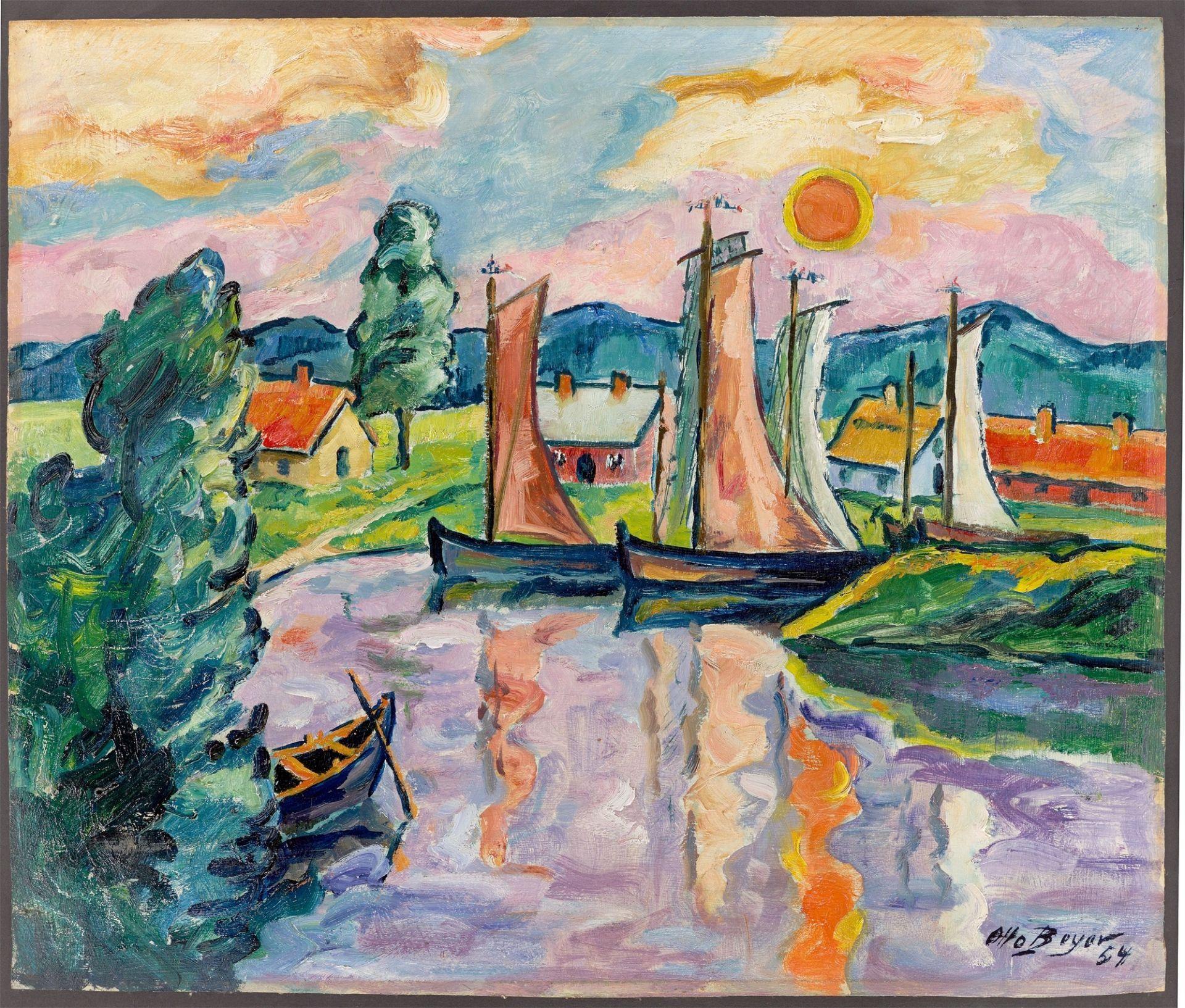 """Otto Beyer. """"Kleiner Fischerhafen im Sonnenuntergang"""". 1954 - Image 2 of 4"""
