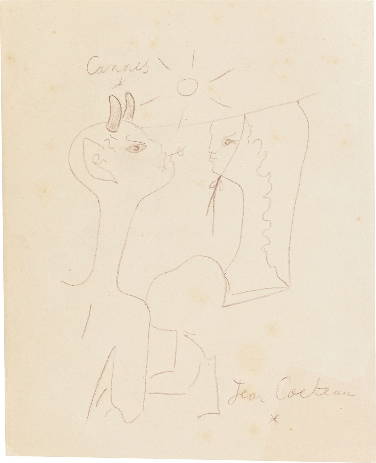 Jean Cocteau. Faun and girl.
