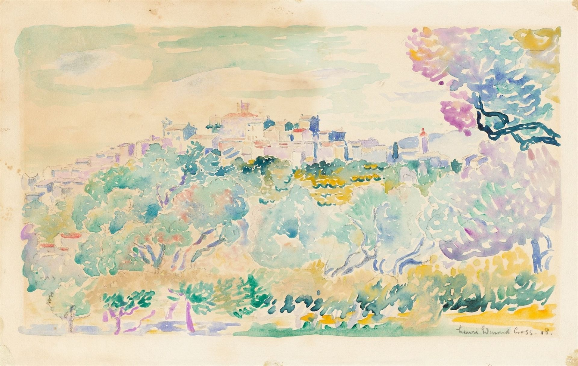 Henri Edmond Cross. Southern landscape with olive grove and small town on a hill. 1908