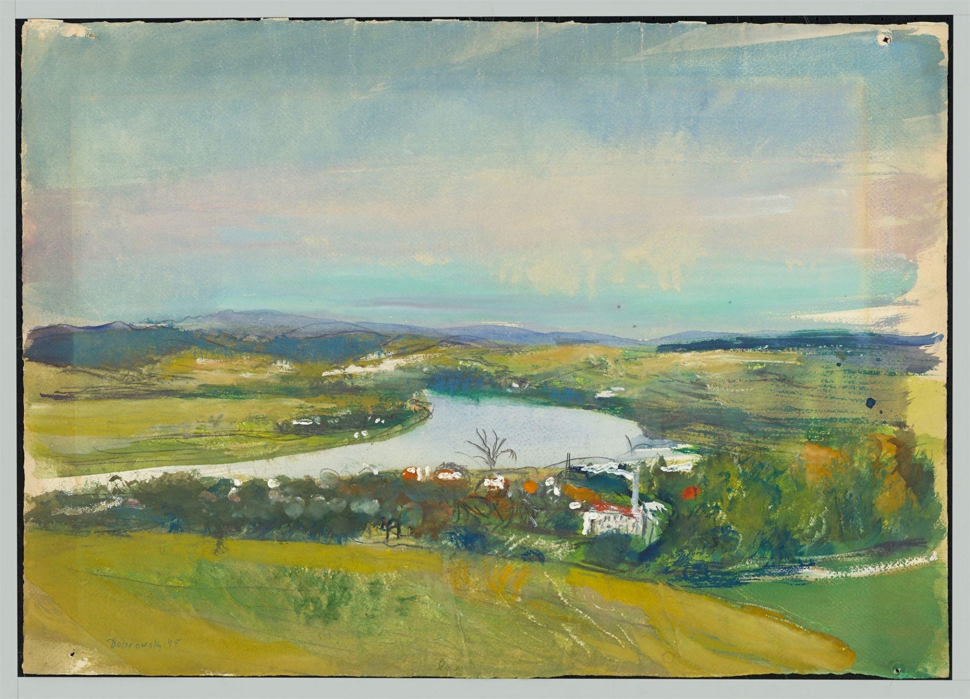 Josef Dobrowsky. River landscape. 1948 - Image 2 of 4