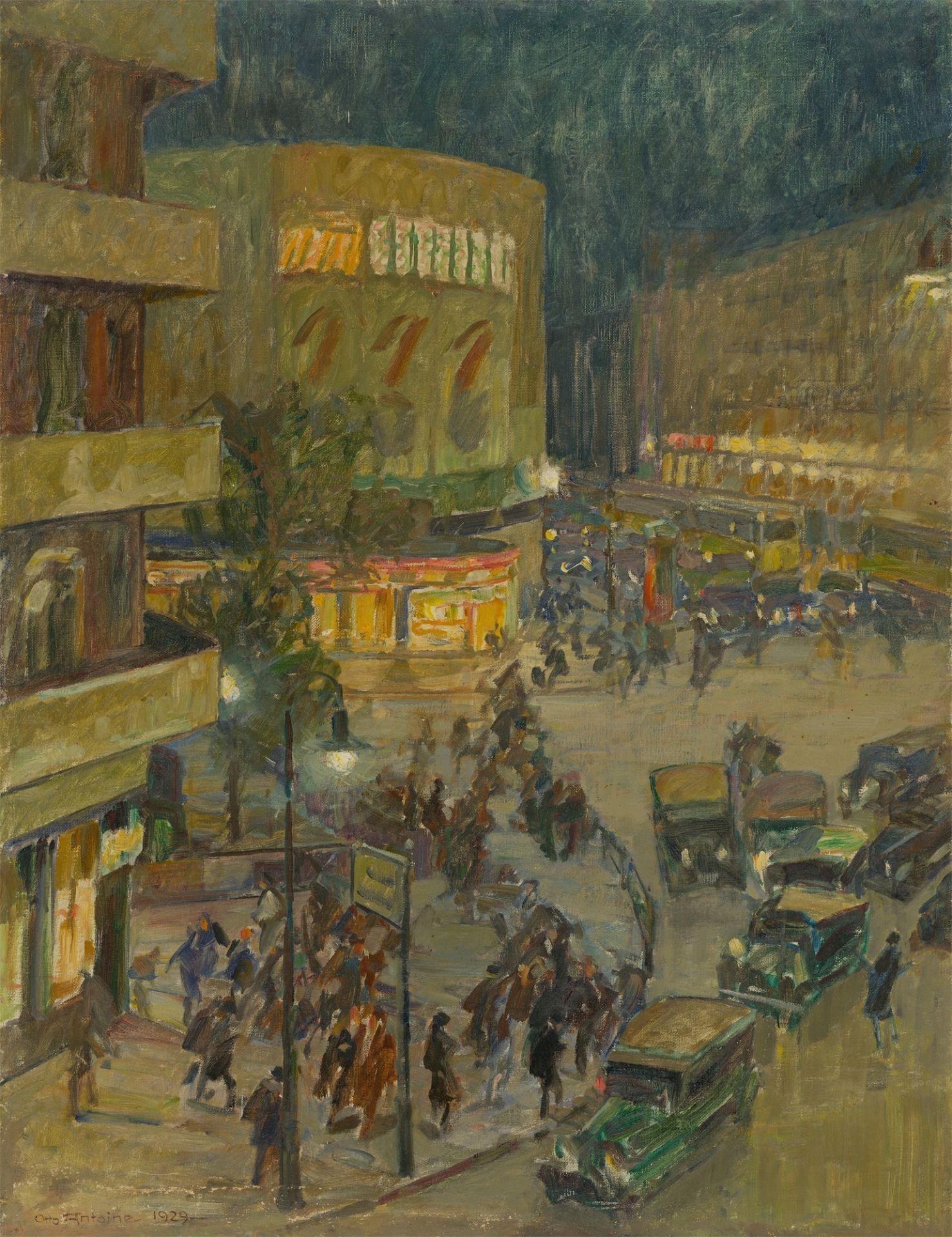 Otto Antoine. Potsdamer Platz at night. 1929