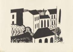 """Werner Heldt. """"WH"""" / """"Totenkopf vor der Stadt"""" / """"Häuser"""". Each 1949"""