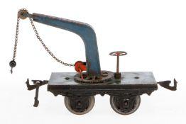 Carette Kranwagen, S 1, uralt, handlackiert, mit Drehrad, Kette und Kugelhaken, Lackschäden teilweis