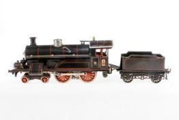Bing 2-B Dampflok, S 1, Starkstrom, schwarz, mit Tender und 2 el. bel. Stirnlampen, 1 Delle mit LS a