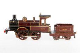Märklin engl. B-Dampflok B 1021 MR, S 1, uralt, Uhrwerk intakt, rotbraun/schwarz, mit Tender und Bre
