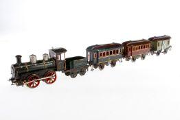 Bing Zug, S 1, uralt, Uhrwerk intakt, handlackiert, mit B-Dampflok, Tender und 3 Wagen, Führerhaus v