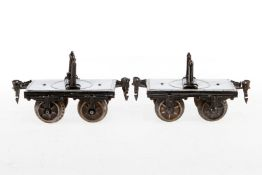 Märklin Langholzwagen 1814, S 1, uralt, handlackiert, 4 Puffer fehlen, L je 13,5, Z 3