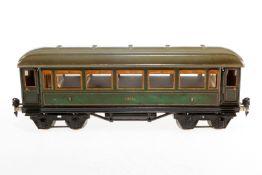 Märklin Personenwagen 1888, S 1, Chromlithographie, mit Inneneinrichtung, 4 AT und Gussrädern, Lacks