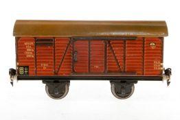 Märklin gedeckter Güterwagen 1781, S 1, Chromlithographie, mit 2 ST, Lackschäden und gealterter Lack