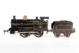 """Märklin engl. B-Dampflok """"326"""" R 1031 LNWR, S 1, Uhrwerk intakt, schwarz, mit Tender, Bremse und v+r"""