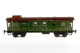 Märklin Gepäckwagen 1844, S 1, Chromlithographie, mit 4 AT, 2 ST, Beleuchtung und Gussrädern, 1 Trep