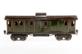 Märklin Gepäckwagen 1889, S 1, Chromlithographie, Fremdbohrungen, nicht vollständig, L 33,5, Z 4