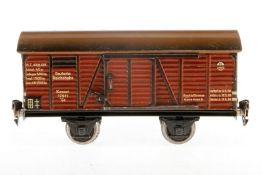 Märklin gedeckter Güterwagen 1781, S 1, Chromlithographie, mit 2 STH, Lackschäden und gealterter Lac