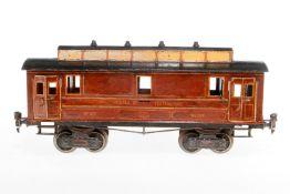 """Märklin franz. Postwagen """"522"""", S 1, uralt, handlackiert, mit Inneneinrichtung und 4 DT, ohne Schild"""