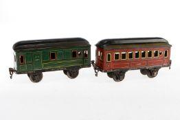 2 Märklin Wagen 1884/1885, S 1, Chromlithographie, Lackschäden, L 20,5, Z 3