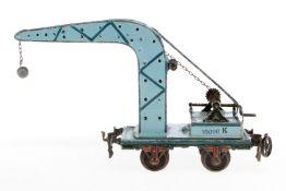 Märklin Kranwagen, S 1, uralt, handlackiert, mit 2 Kurbeln und Kette, Kugelhaken ersetzt, Lackschäde