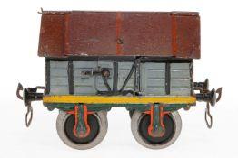 Märklin Zementwagen, S 1, uralt, handlackiert, mit 2 LTH und 2 Klappdeckeln, Kette und 1 Puffer fehl
