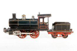 Märklin B-Dampflok B 1021, S 1, uralt, Uhrwerk intakt, grün/schwarz, mit Tender und Bremse, imit. St