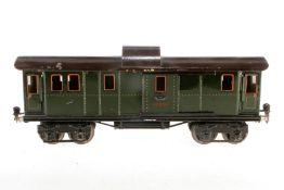 Märklin Gepäckwagen 1889, S 1, Chromlithographie, mit 4 AT und 2 ST, Treppen fehlen, Lackschäden tei