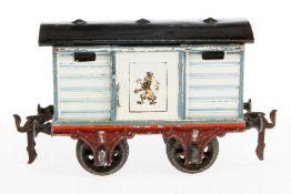 Märklin Löwenbräu Bierwagen 1808, S 1, uralt, handlackiert, mit 1 ST, Radsätze ergänzt, Lackschäden