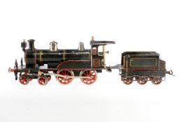 Bing 2-B Dampflok, S 1, uralt, Uhrwrek intakt, schwarz/grün, mit Tender, 3 imit. Stirnlampen, Bremse