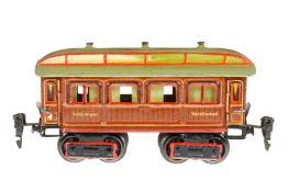 Märklin Schlafwagen 1843, S 0, uralt, HL, mit Inneneinrichtung und 4 AT, Rahmen tw nachlackiert,
