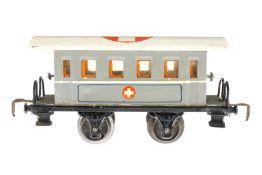 Märklin Sanitätswagen 1828, S 0, HL, mit 4 AT, ohne Einrichtung, versch. Ausbesserungen, LS und
