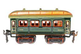 Märklin Personenwagen 1841, S 0, uralt, HL, mit Inneneinrichtung und 4 AT, LS und gealterter Lack, L
