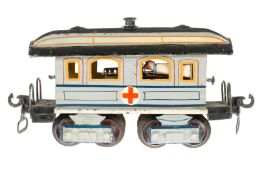 Märklin Sanitätswagen 1848, S 0, uralt, HL, mit Inneneinrichtung und 4 NB-Bahren, 2 AT,