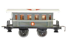 Märklin Sanitätswagen 1828 P, S 0, HL, mit Inneneinrichtung, 2 Bahren und versch. Figuren, 4 AT,