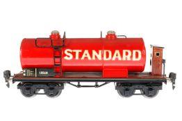 Märklin Standard Kesselwagen 1854, S 0, HL, mit BRH, LS tw ausgeb., gealterter Lack, L 24,5, Z 2-3