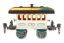 Märklin Sanitätswagen 1828, S 0, uralt, HL, mit Inneneinrichtung (Bahreneinsatz fehlt) und 2 AT,