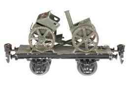 Märklin Militär-Plattformwagen 1925/8400/9, S 0, uralt, HL, mit Feldküche und Protze, LS und