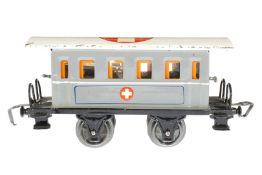 Märklin Sanitätswagen 1828 P, S 0, HL, mit Inneneinrichtung und 2 Bahren, LS und gealterter Lack,