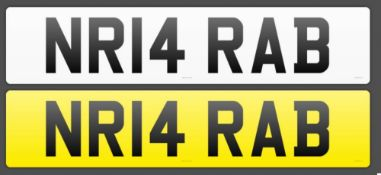Cherished Number Plate NR14 RAB . Number 1 Arab