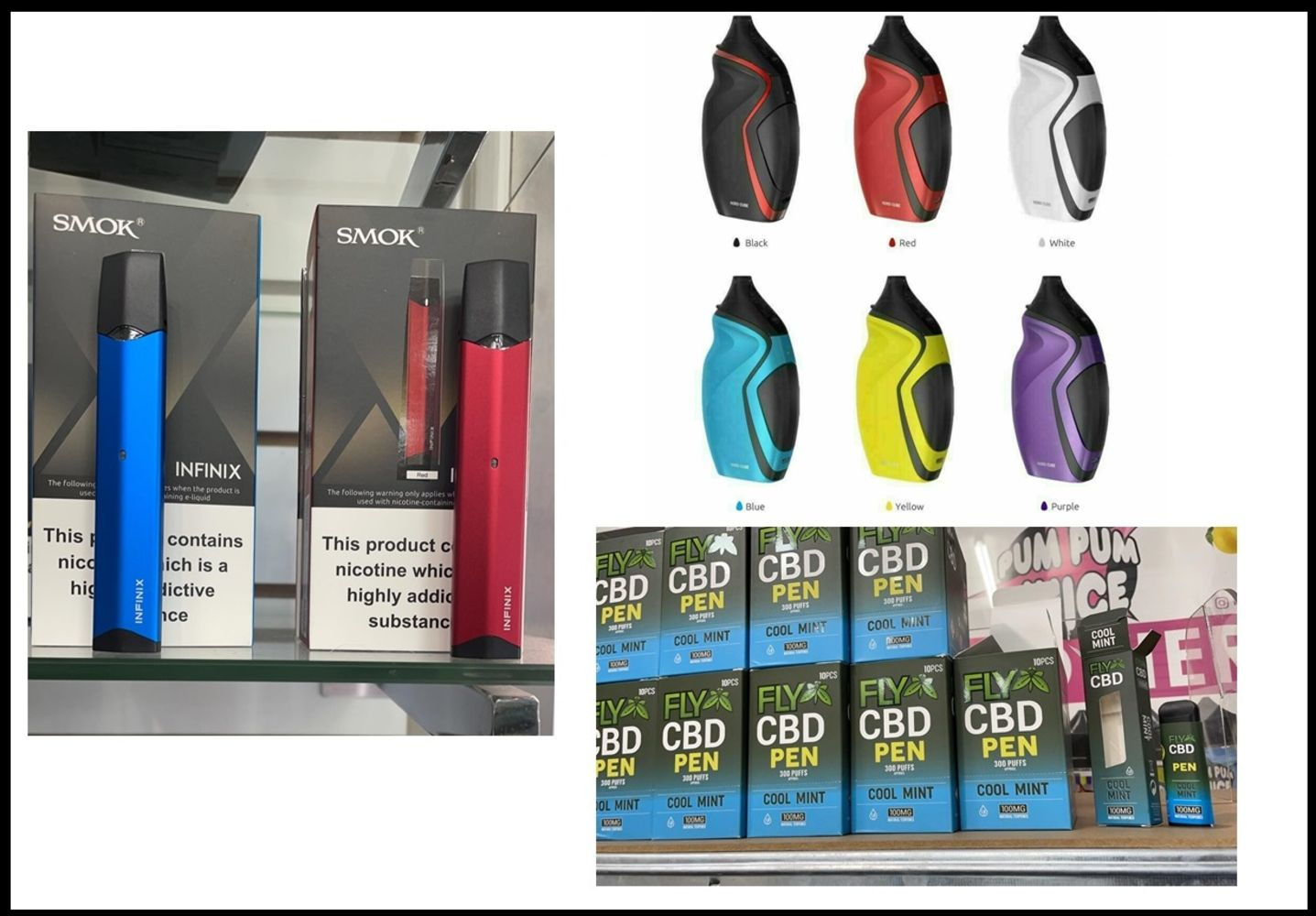 CLEARANCE VAPE PRODUCTS. ALL BRAND NEW STOCK. CBD Pens, Smok Infinix Kits, Smok Nord Cube Kits, Over 600 Items