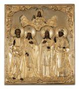 ICONA RAFFIGURANTE I SANTI ELIA, MASSIMO, BARBARA E NICOLA CON RIZA IN ARGENTO DORATO, MOSCA, 1863,