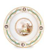 PIATTO IN PORCELLANA POLICROMA, MANIFATTURA DI NAPOLI, CIRCA 1784-1788
