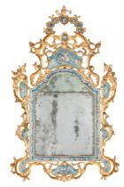GRANDE SPECCHIERA IN LEGNO INTAGLIATO, LACCATO E DORATO, VENEZIA, XVIII SECOLO